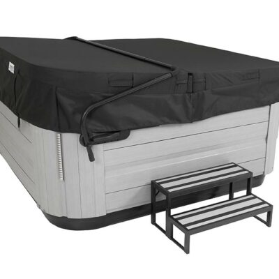 Jacuzi VERSASTEP w Black Cover Brushed Gray Angled Right